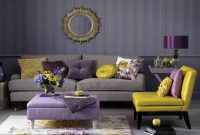 Living Room Grey Couch Lovely Fabric Pillows Purple Ottoman Coffee regarding size 1209 X 907