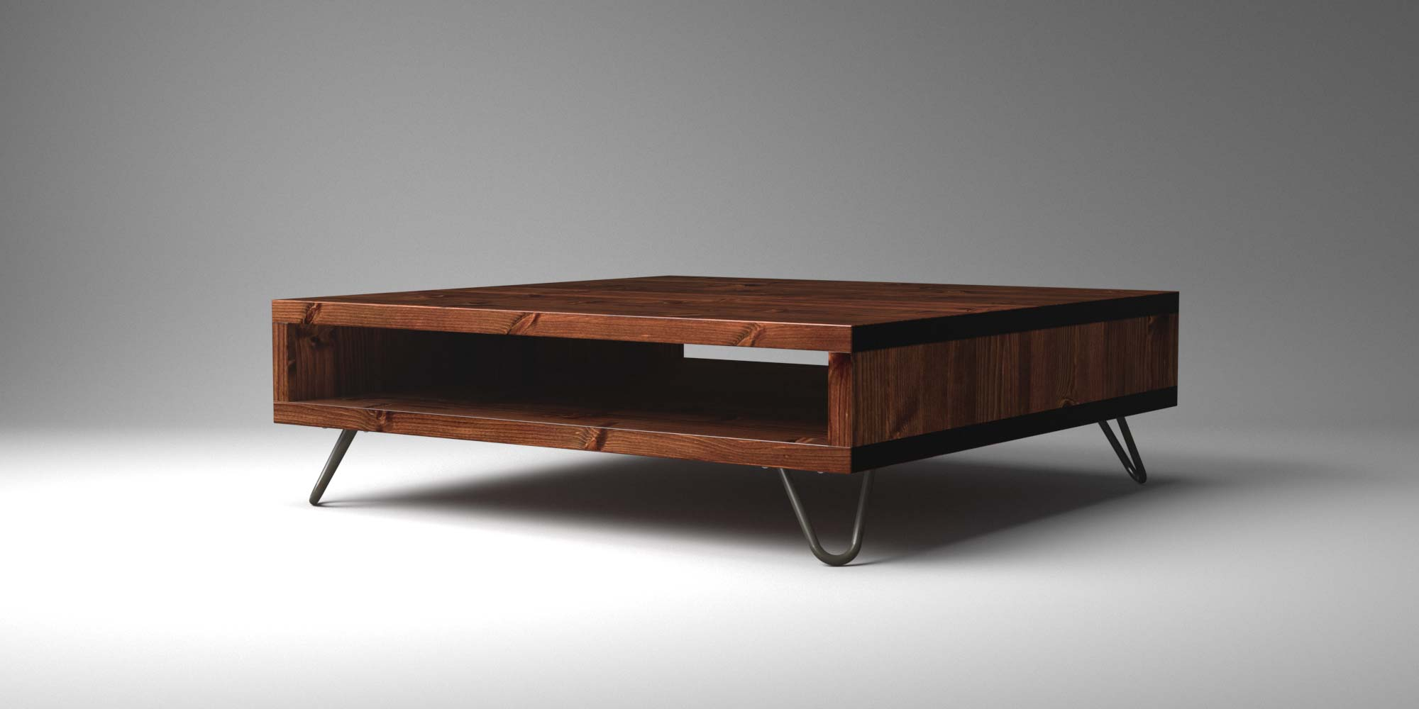 Lowboy Box Coffee Table With Hairpin Legs Blue Island Home throughout measurements 2000 X 1000