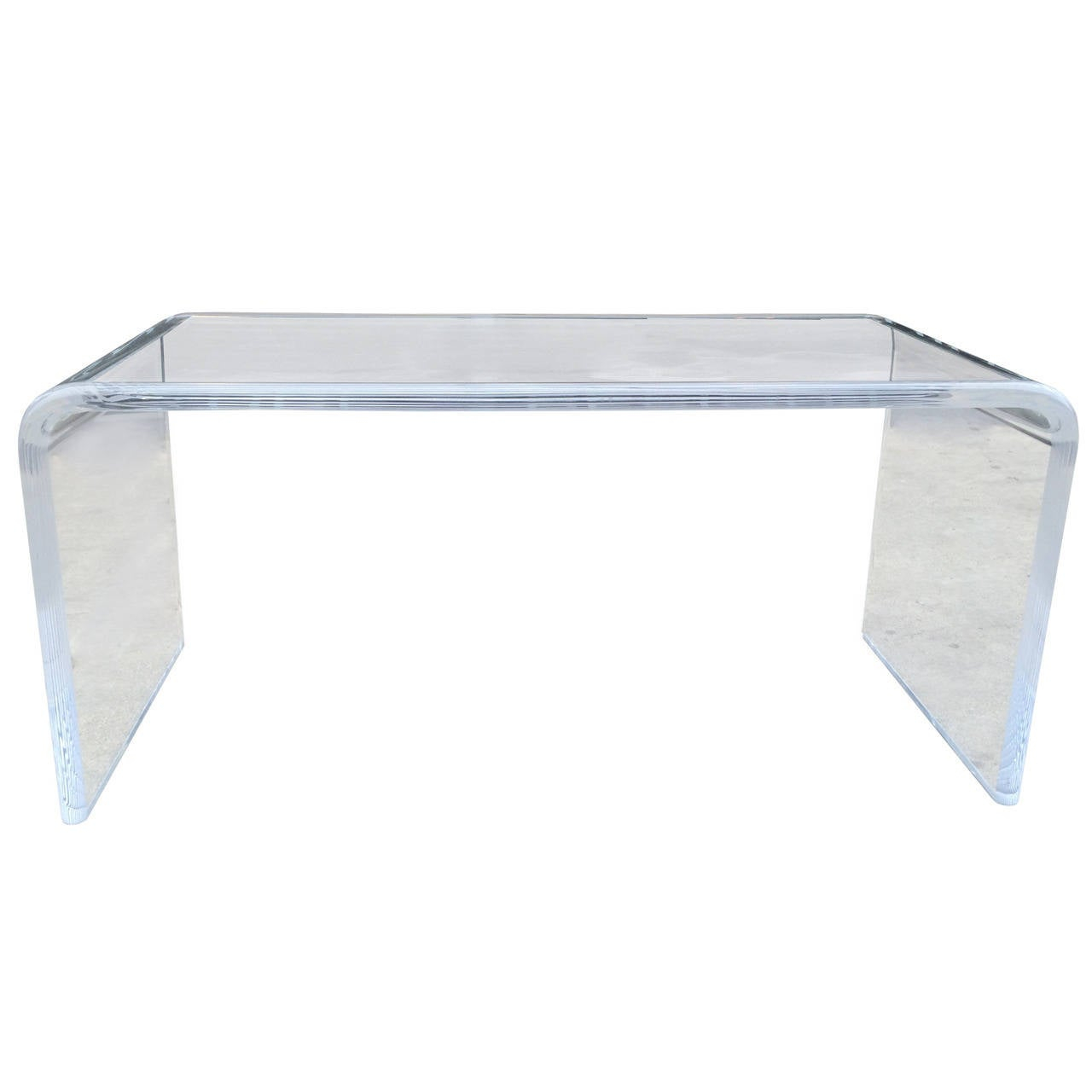 Lucite Waterfall Coffee Table With Bullnose Edges Charles for measurements 1280 X 1280