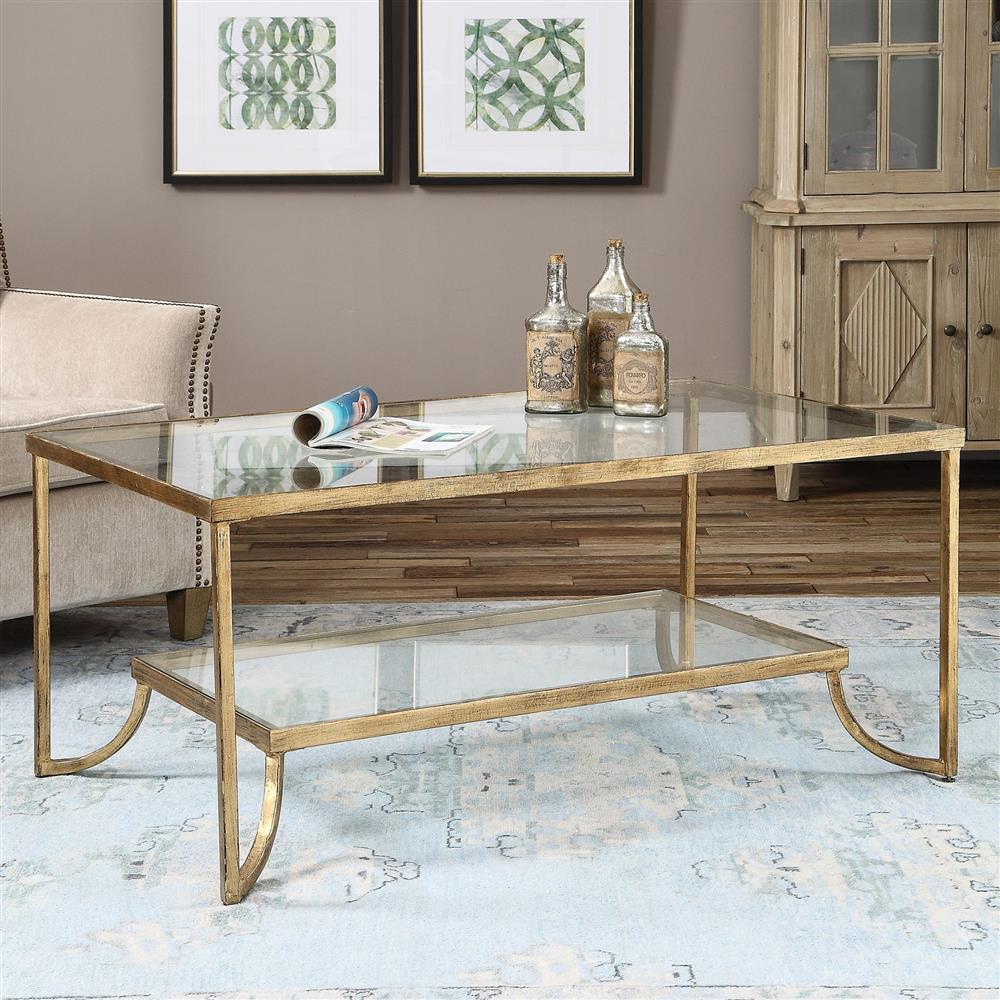Madox Modern Classic Antique Gold Leaf Glass Coffee Table Kathy throughout measurements 1000 X 1000