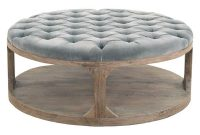 Marie French Country Round Grey Blue Tufted Wood Coffee Table throughout size 1000 X 1000