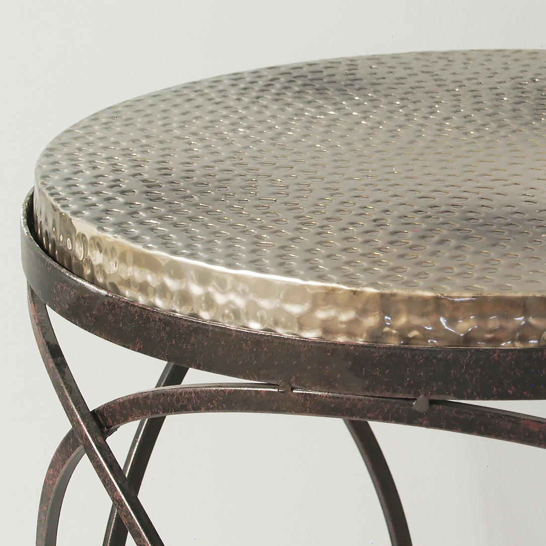 Metal Hammered Top Round Side Table Primrose Plum throughout sizing 1100 X 1100