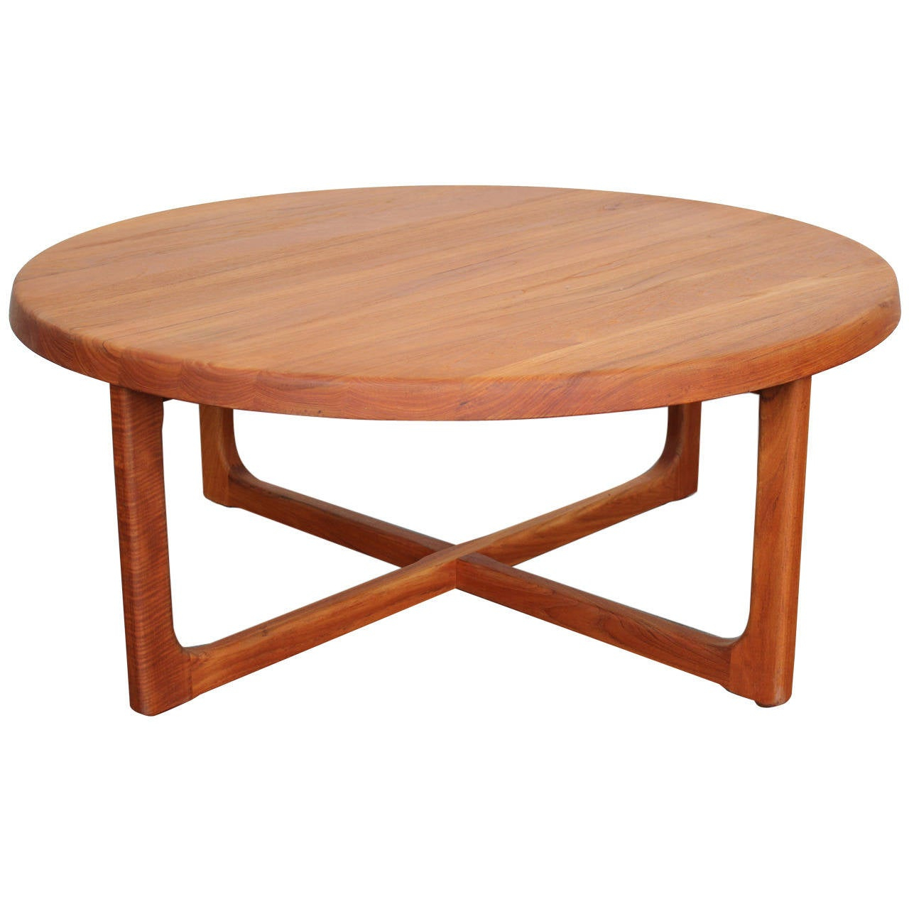 Mid Century Large Round Solid Teak Coffee Table At 1stdibs for proportions 1280 X 1280