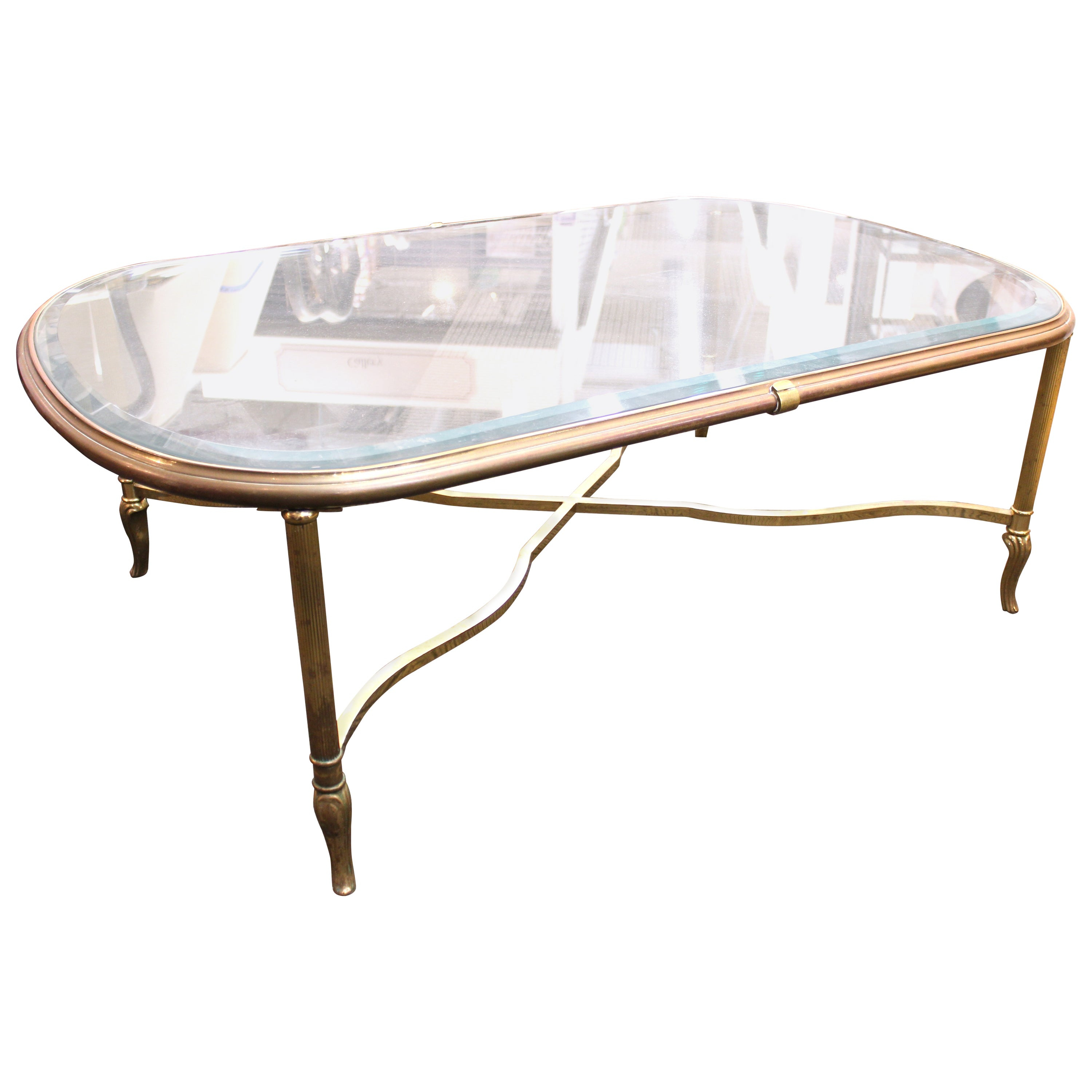 Midcentury Glass Top Coffee Table With Classical Gilt Metal Frame with regard to size 3000 X 3000