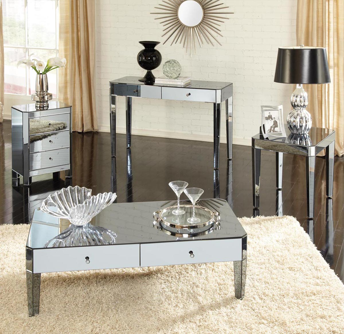 Mirrored Coffee Table Set Coffee Tables regarding proportions 1200 X 1163