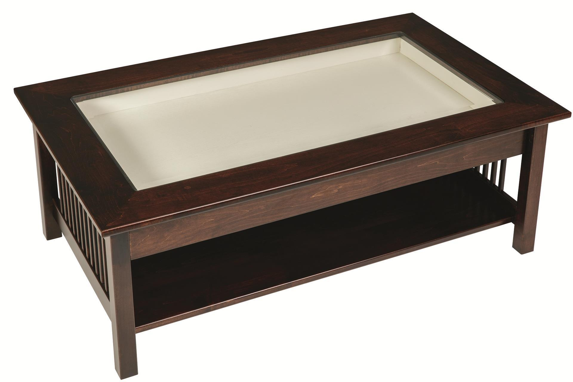 Mission Large Coffee Table With Glass Top Display From Dutchcrafters inside size 1920 X 1280