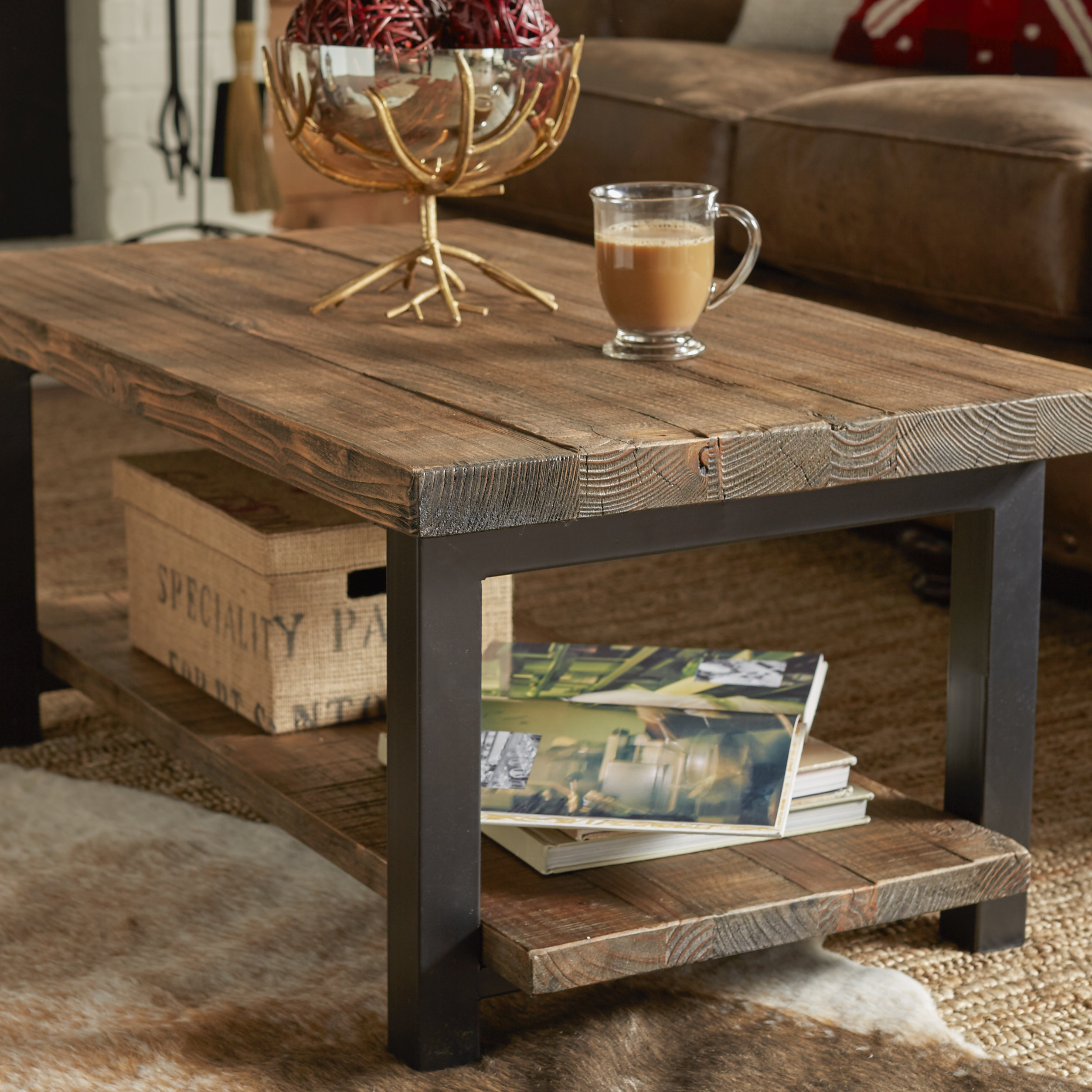 Mistana Veropeso 42 Woodmetal Coffee Table With Tray Top Reviews with proportions 2505 X 2505