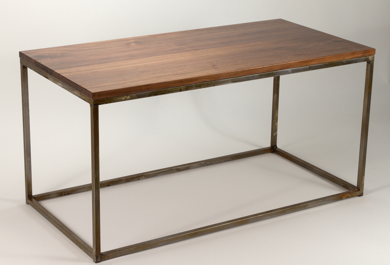 Modern Metal Box Frame Coffee Table Solid Wood Living Room Custom for dimensions 2415 X 1644