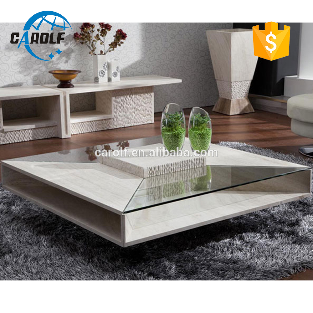Modern Nature Travertine Glass Center Table Square Coffee Table in size 1000 X 1000