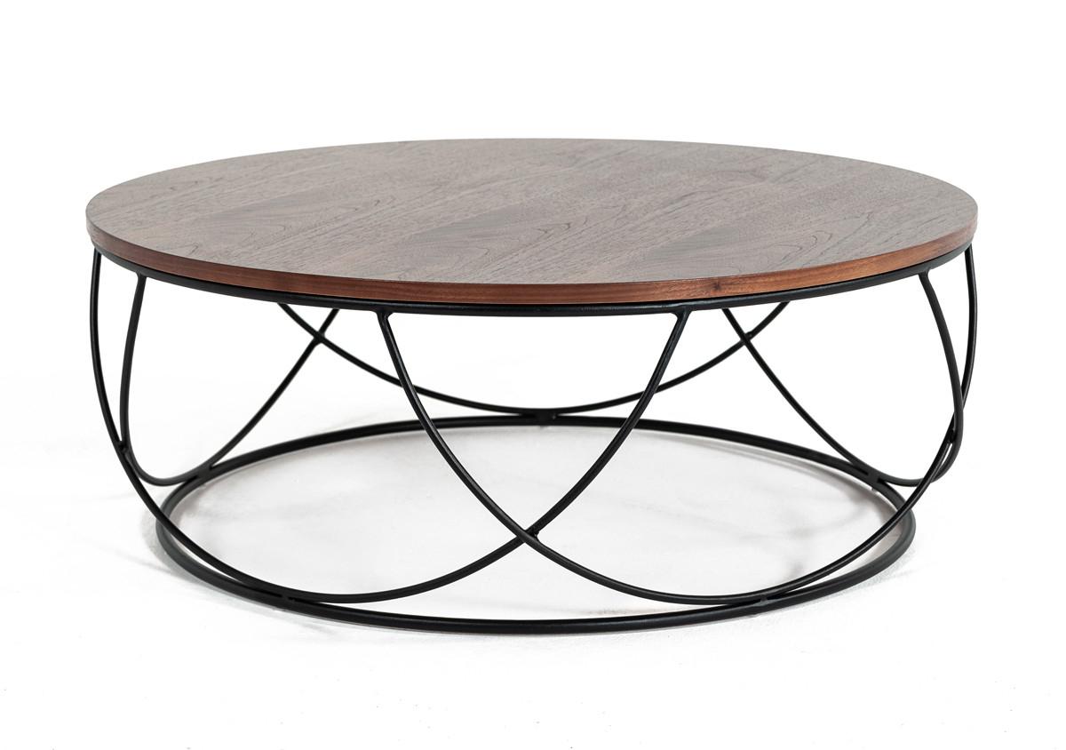 Modrest Strang Modern Walnut Black Round Coffee Table pertaining to dimensions 1200 X 844