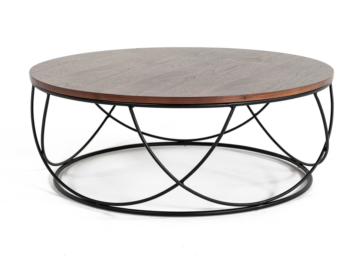 Modrest Strang Modern Walnut Black Round Coffee Table within dimensions 1200 X 844