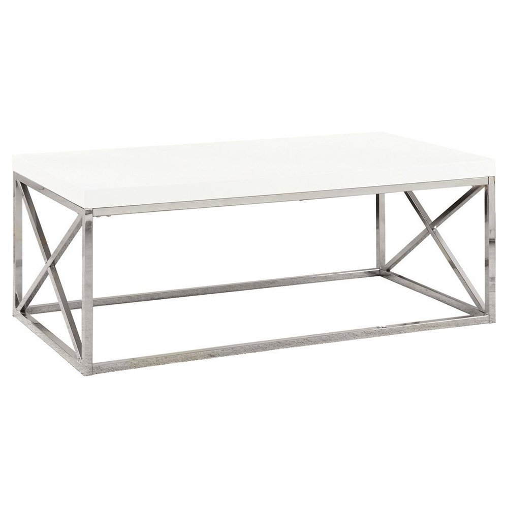 Monarch Coffee Table Glossy White With Chrome Metal Walmart pertaining to dimensions 1000 X 1000