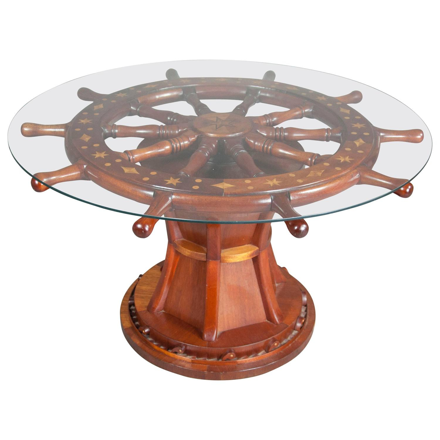 Nautical Ships Wheel Coffee Table throughout proportions 1500 X 1500