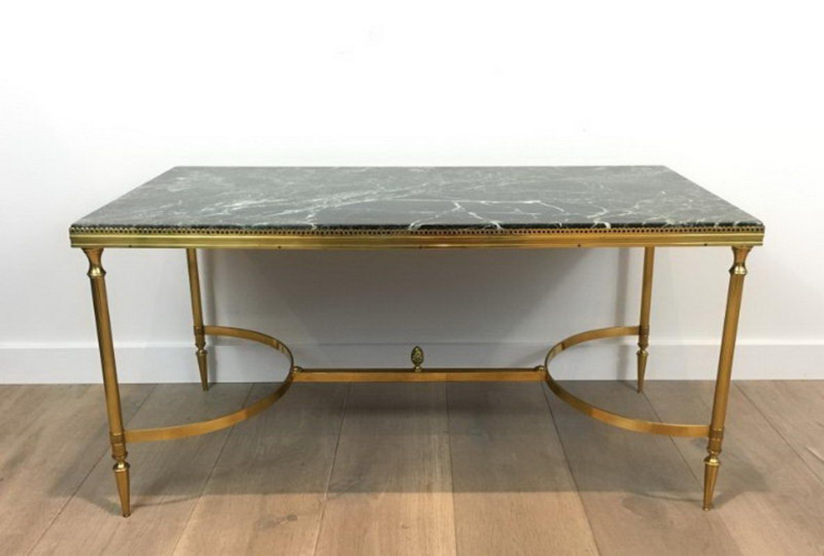 Neoclassical Style Brass Coffee Table With Marble Top 1940s For in sizing 1185 X 800
