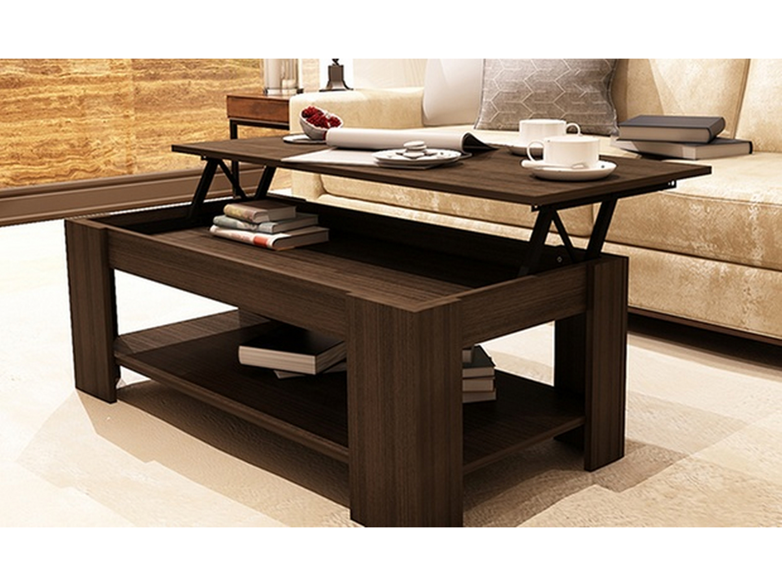 New Caspian Espresso Lift Up Top Coffee Table With Storage Shelf within proportions 1600 X 1200