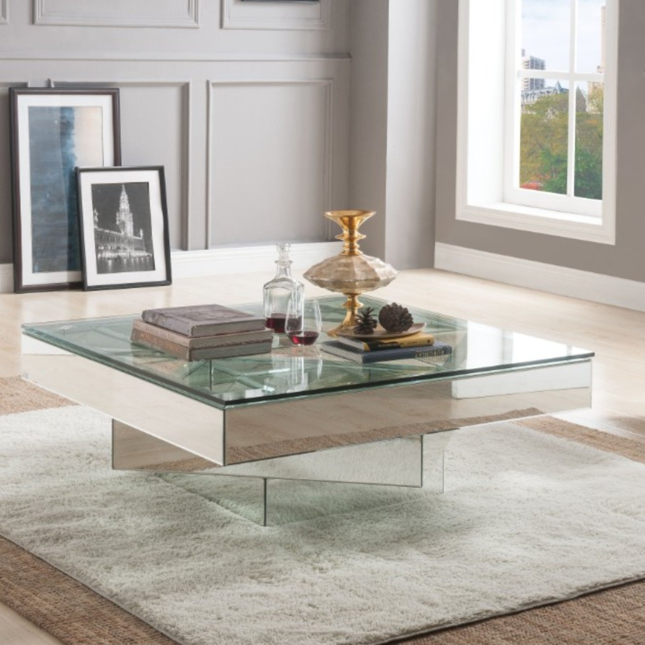 Orren Ellis Ulibarri Modern Square Glass And Mirror Coffee Table inside measurements 1317 X 1317