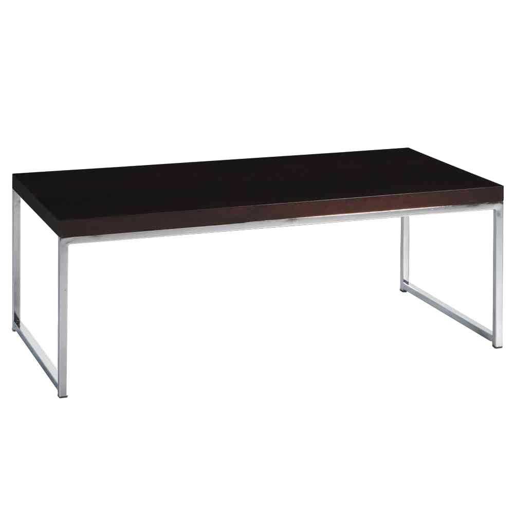 Osp Home Furnishings Wall Street Chrome And Espresso Coffee Table inside sizing 1000 X 1000