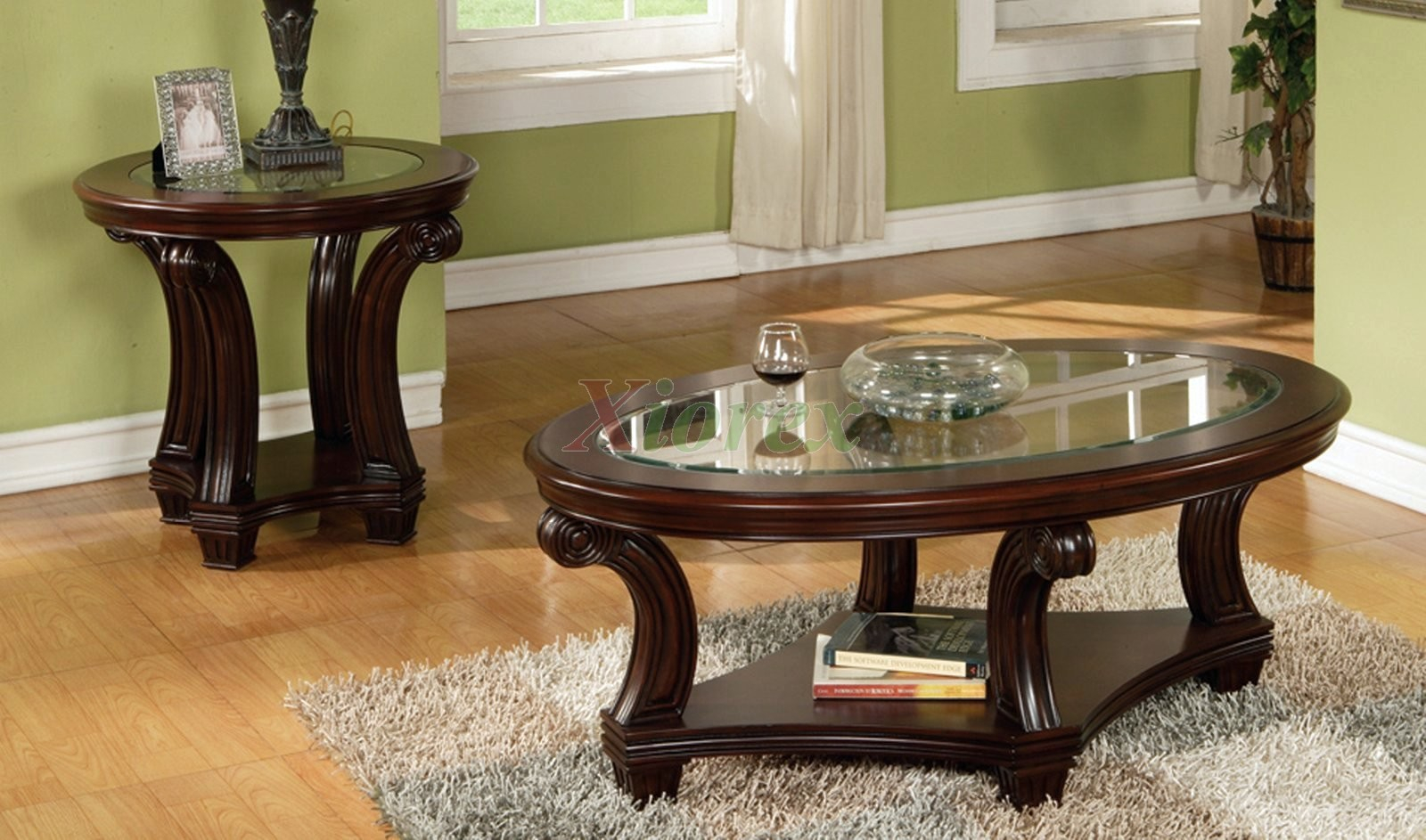 Perseus Glass Top Wooden Coffee Table Set Montreal Xiorex for size 1600 X 943