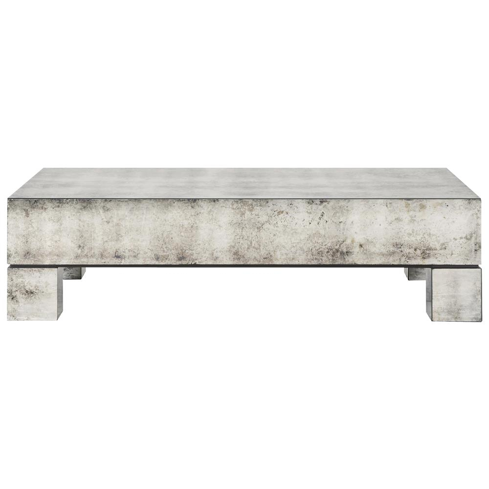Phineas Industrial Loft Antiqued Mirror Coffee Table Kathy Kuo Home throughout measurements 1000 X 1000