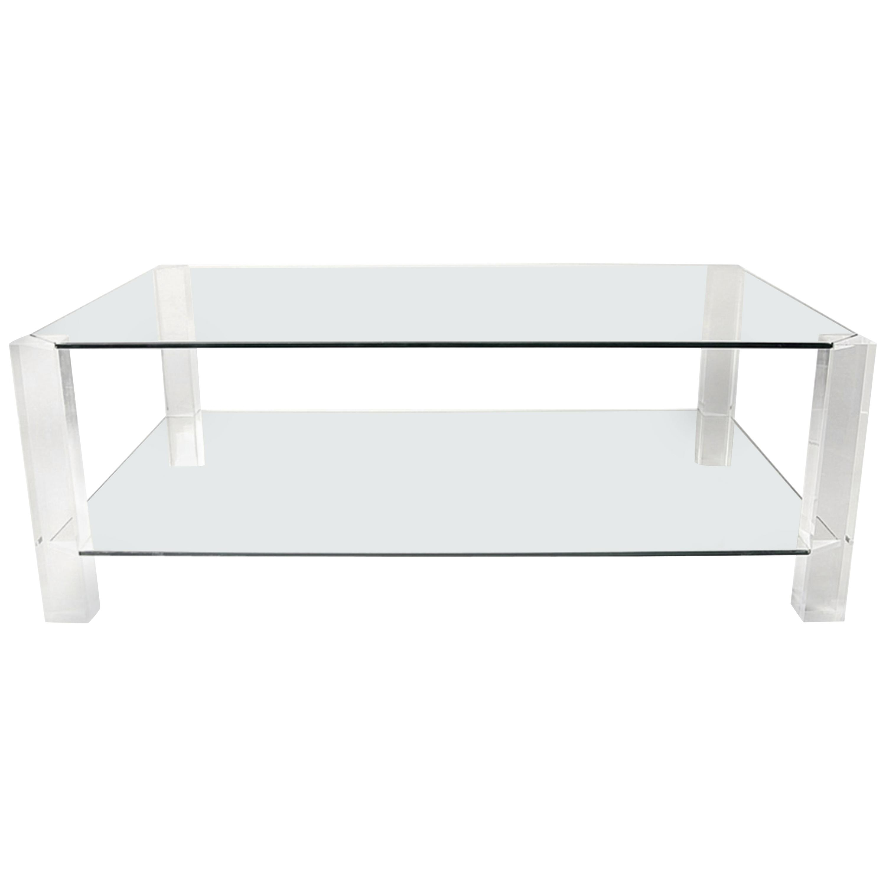 Porta Romana Glass And Lucite Coffee Table At 1stdibs in sizing 3000 X 3000