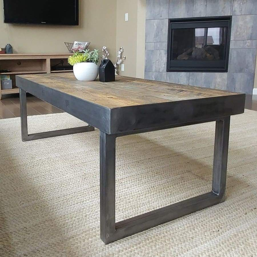 Reclaimed Wood And Metal Coffee Table Tube Steel Frame And Legs throughout size 900 X 900