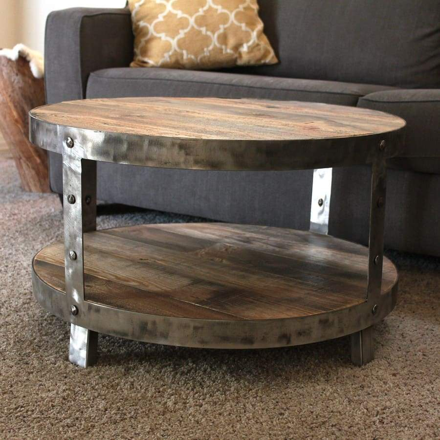 Reclaimed Wood And Metal Round Two Tier 30 Coffee Table Free inside proportions 900 X 900