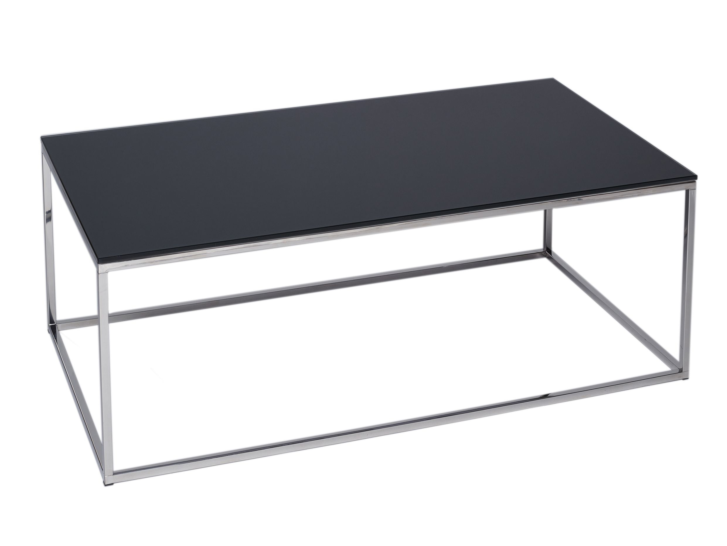 Rectangular Coffee Table Kensal Black With Polished Steel Base intended for proportions 2481 X 1861