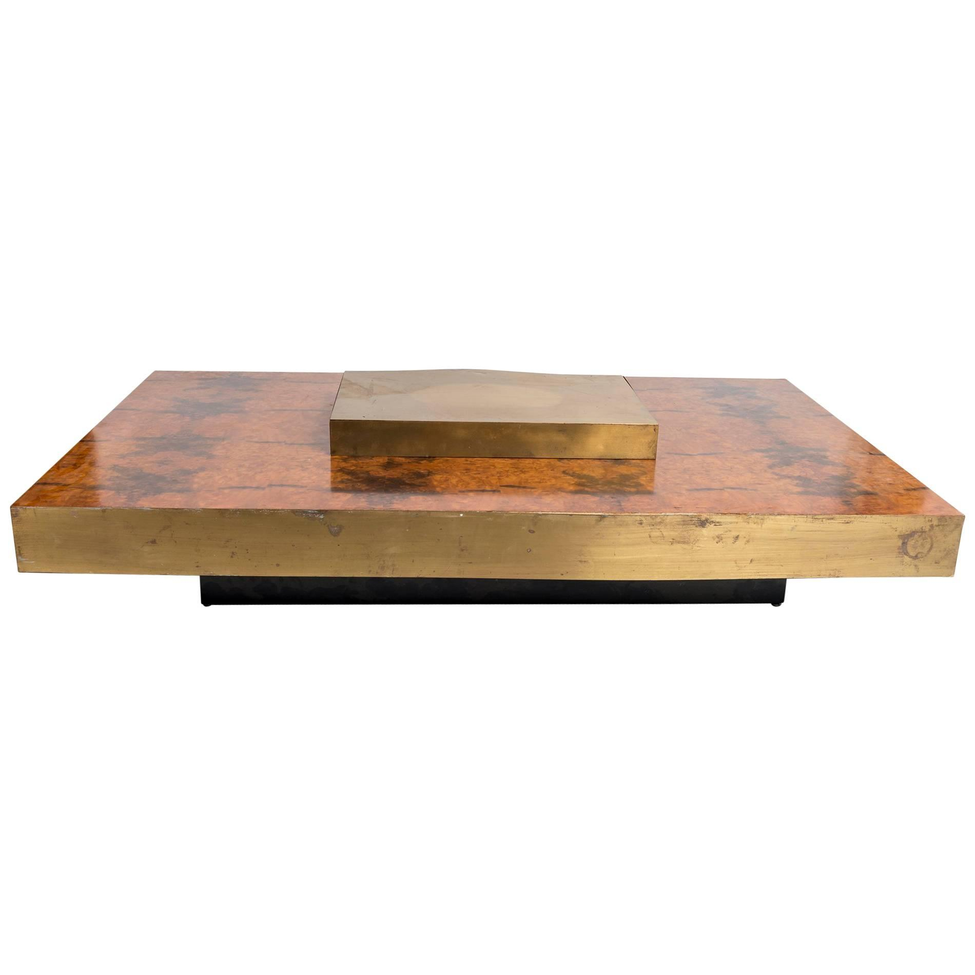 Rectangular Low Brass Center Wooden Coffee Table With Brass Trim For regarding size 1900 X 1900