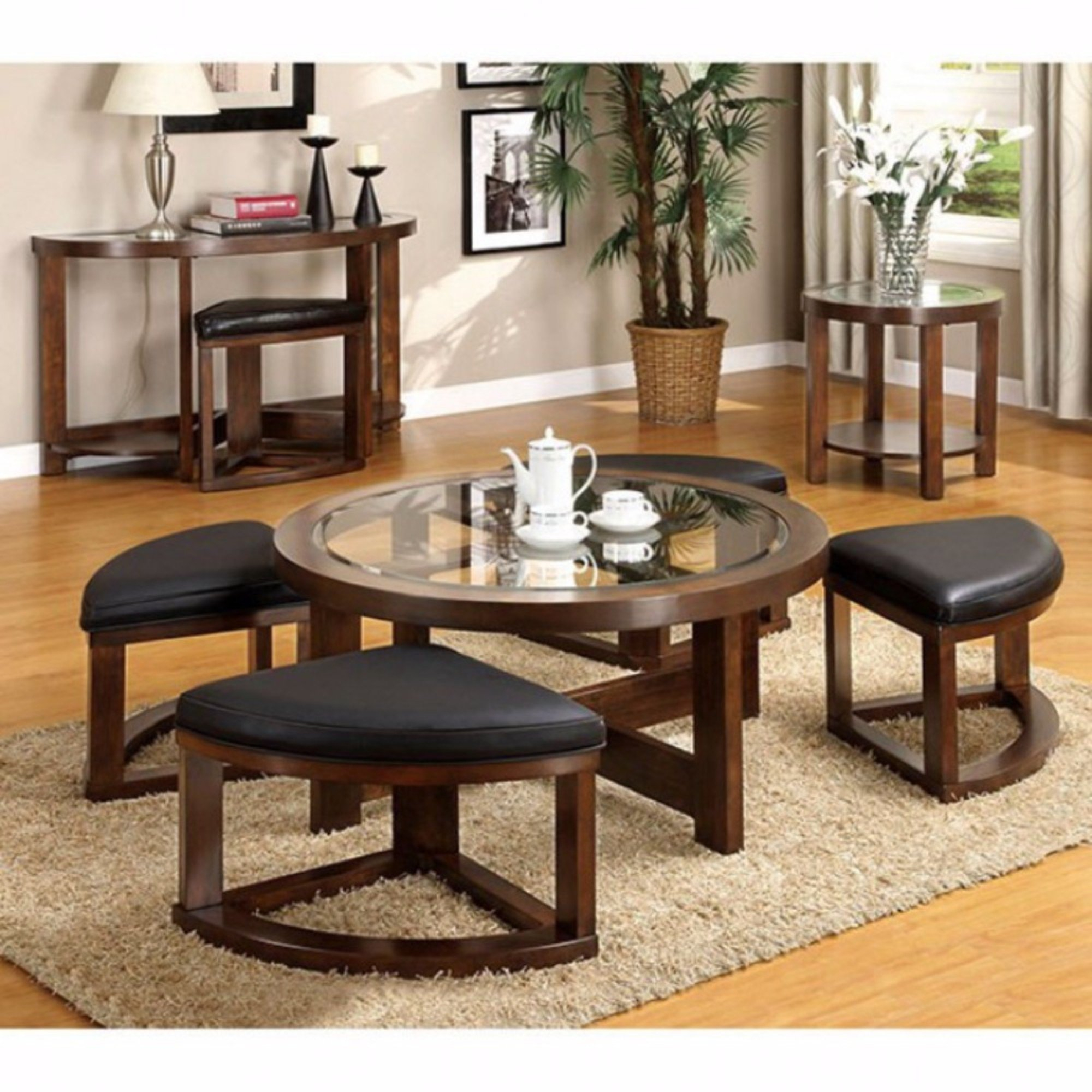 Red Barrel Studio Wellkamp Wooden Coffee Table With 4 Ottomans Wayfair within size 2000 X 2000