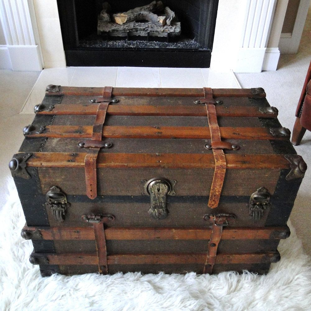 Reserved For Eric Large Antique Steamer Trunk Coffee Table Flat Top with regard to size 1000 X 1000