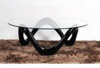 Round Glass Coffee Table With Black High Gloss Base Homegenies intended for measurements 1280 X 720