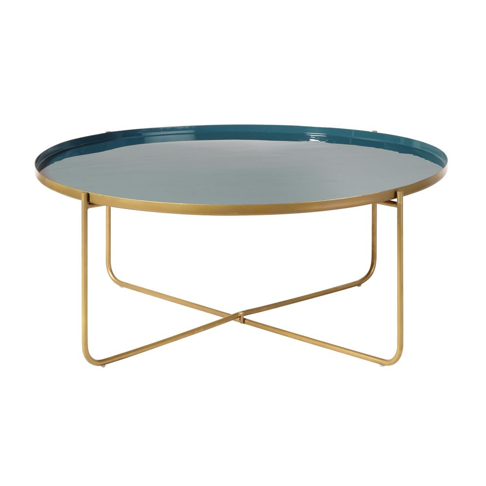 Round Teal And Gold Metal Coffee Table Galet Maisons Du Monde inside size 1000 X 1000
