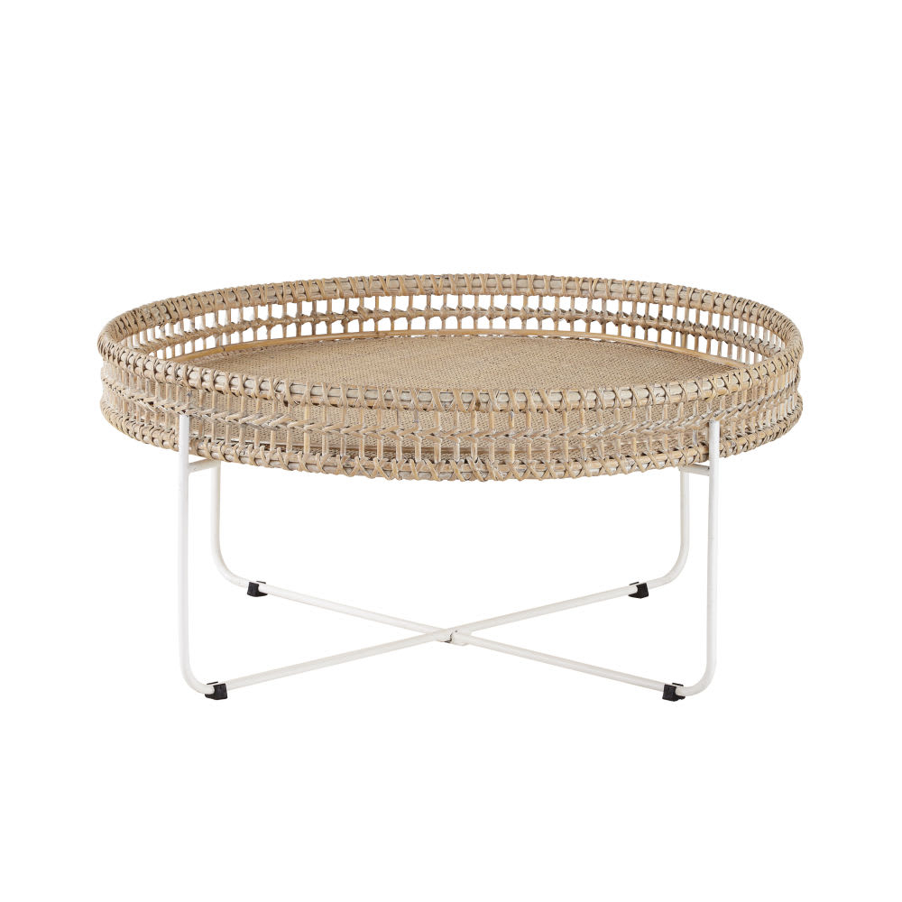 Round Woven Rattan And Metal Coffee Table Panglao Maisons Du Monde throughout sizing 1000 X 1000