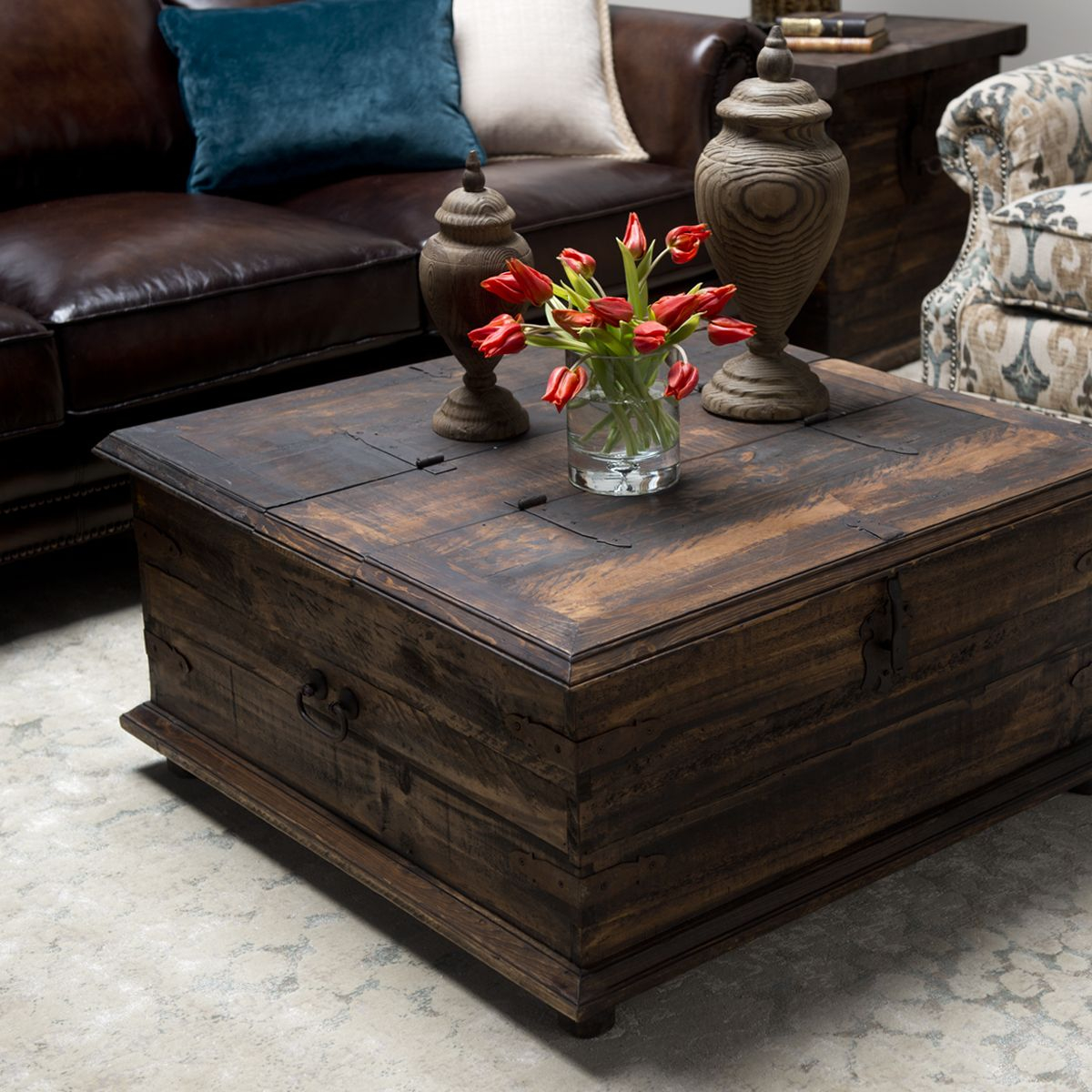 Rustic Coffee Tabletrunk Includes Hinged Lid For Handy Storage within dimensions 1200 X 1200