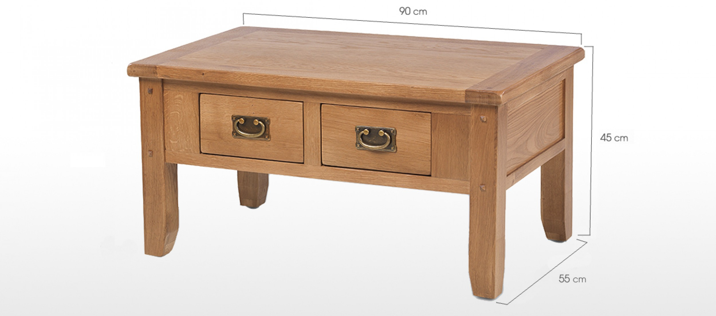 Rustic Oak Small 2 Drawer Coffee Table Quercus Living regarding dimensions 2500 X 1103