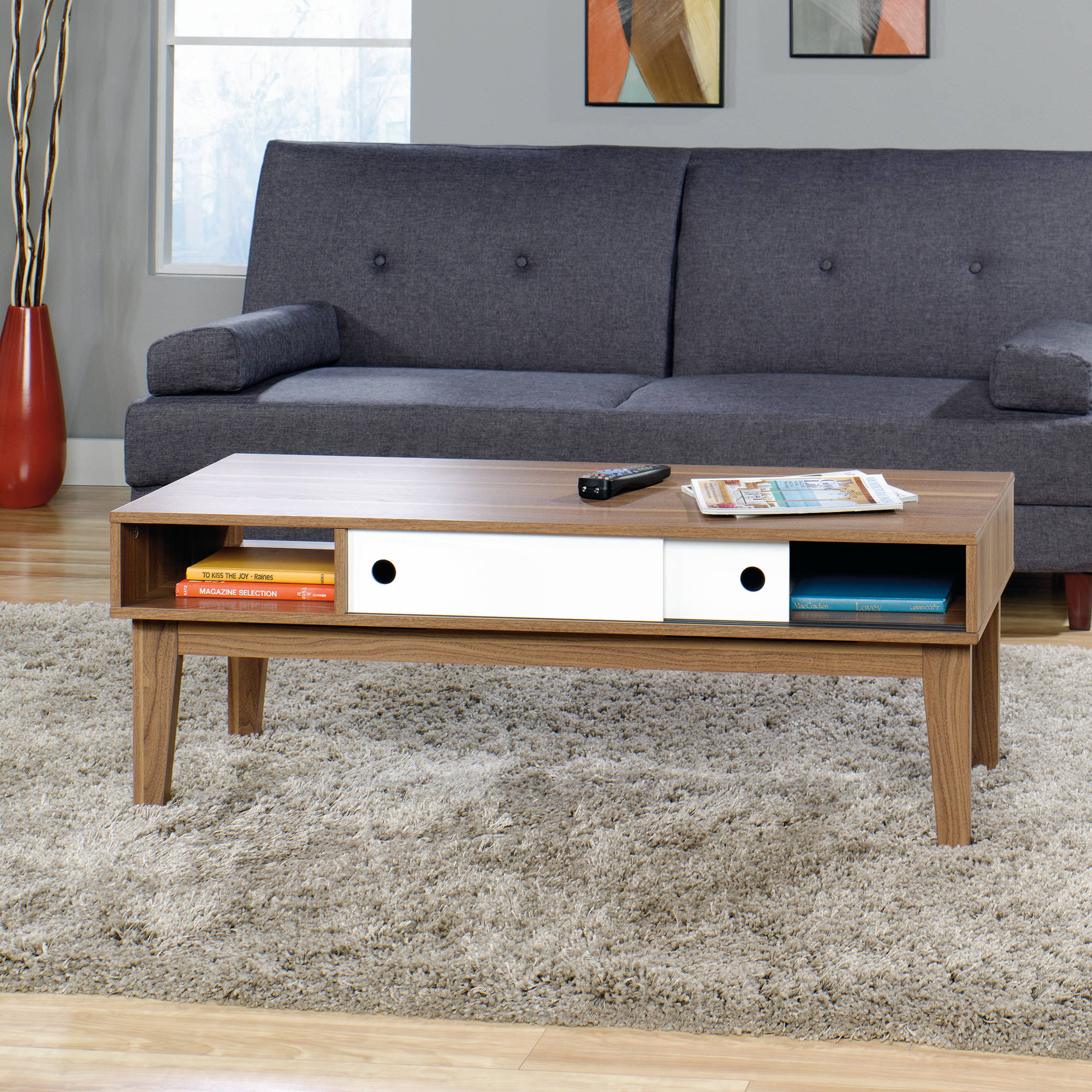 Sauder Soft Modern Coffee Table Walnut Finish With White Accent in sizing 2000 X 2000