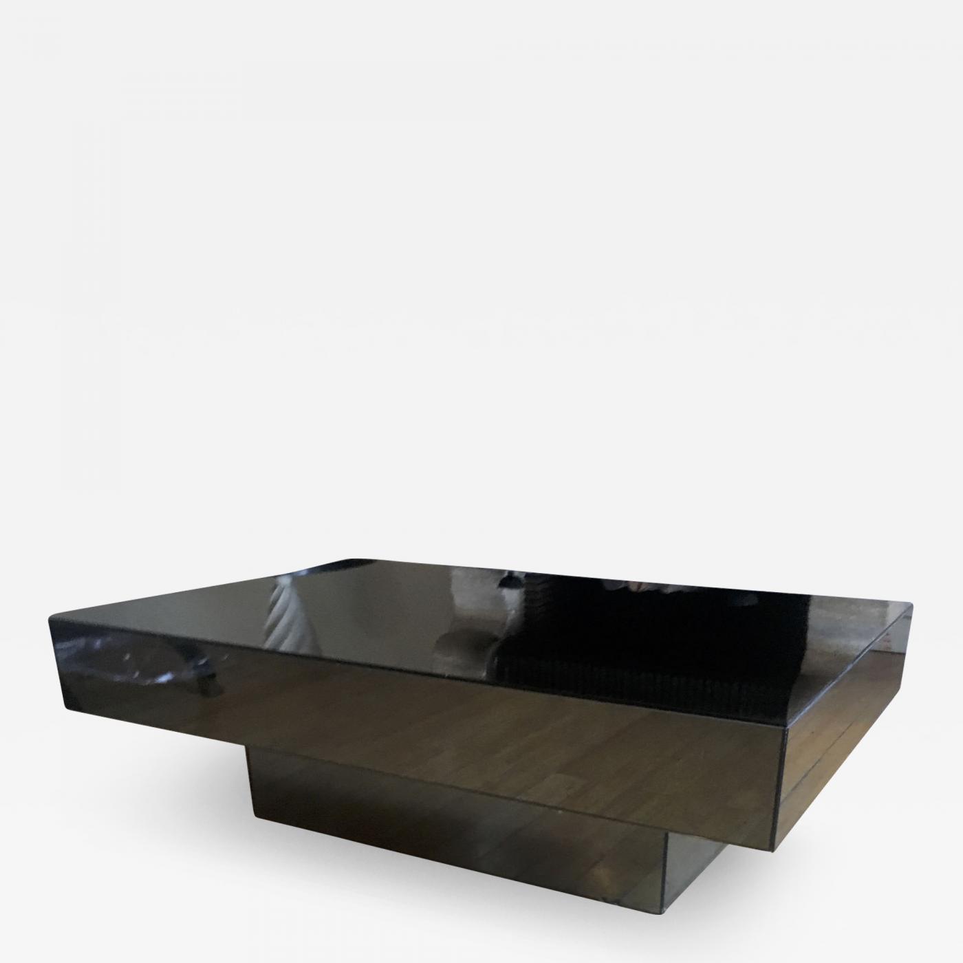 Seventies Big Square Pure Design Black Mirrored Coffee Table regarding size 1400 X 1400