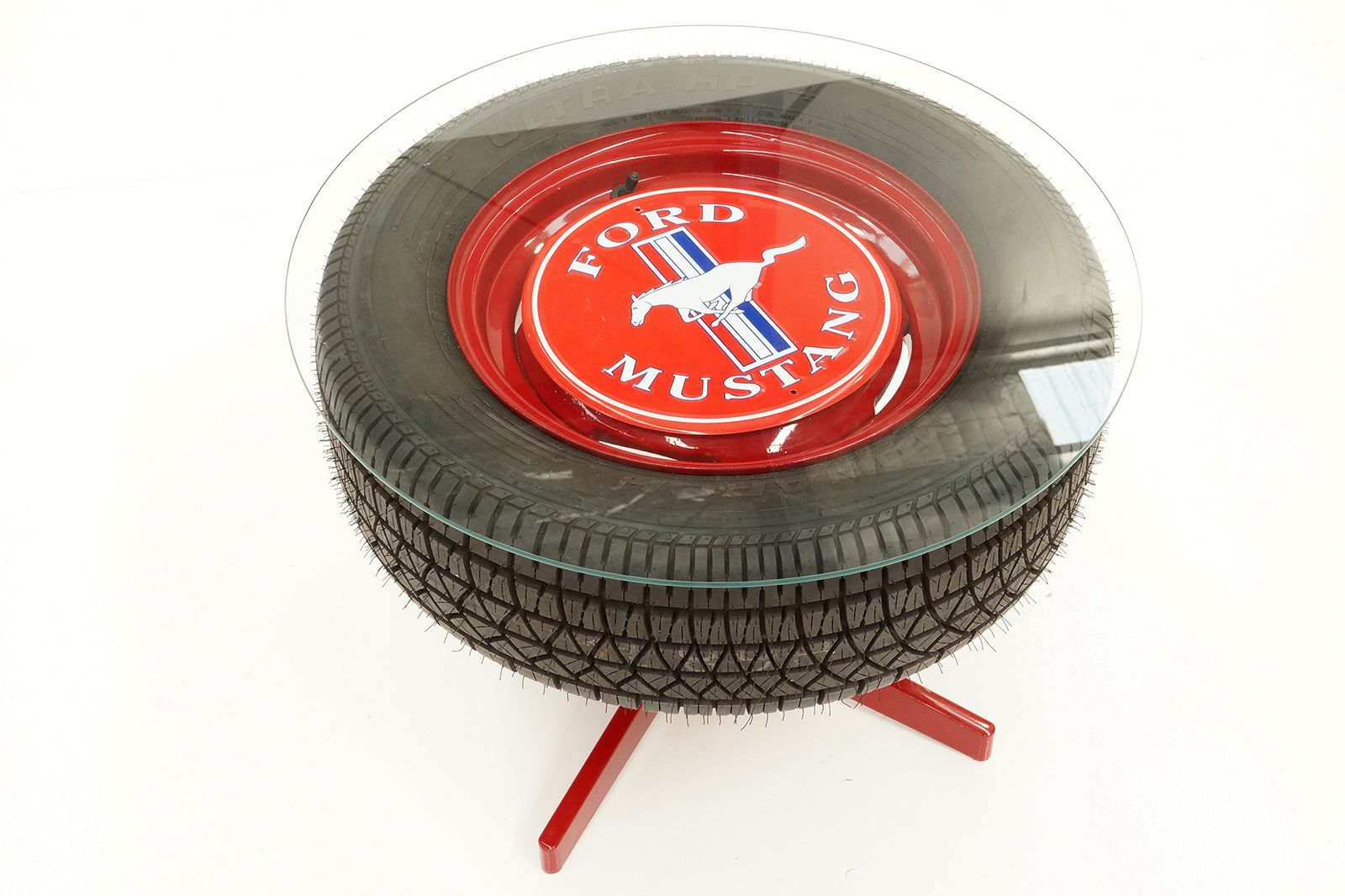 Sold Coffee Table Mustang Wheel Tyre With Glass Top Auctions intended for size 1600 X 1066