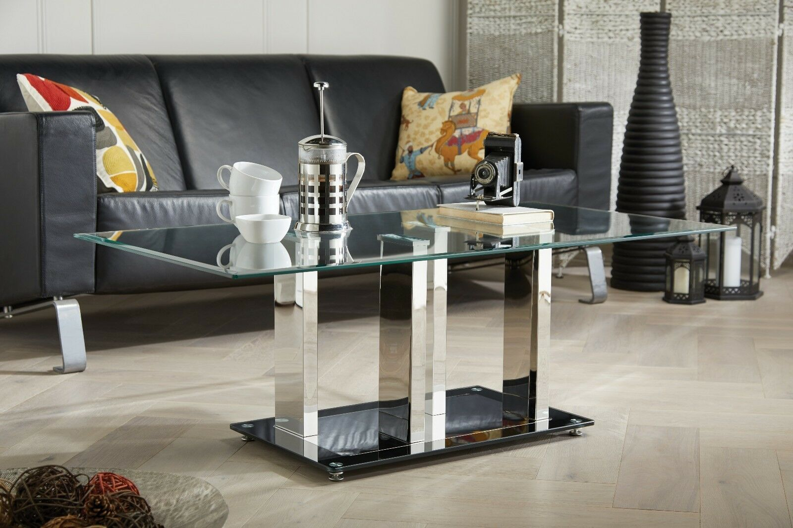 Sophia Modern Blacksilver Stainless Steel And Glass Stylish Coffee pertaining to dimensions 1600 X 1066