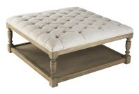 Square Tufted Linen Natural Oak Coffee Table Ottoman Kathy Kuo Home in sizing 1000 X 1021