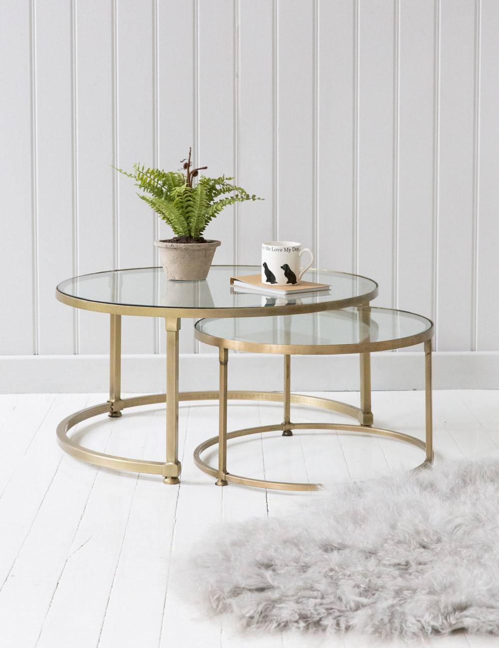 Stacking Round Glass Coffee Table Set Rose Grey in measurements 1000 X 1300