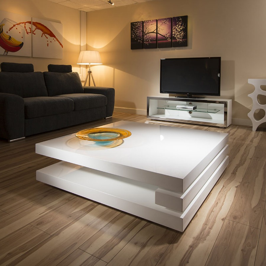 Superb Extra Large Modern Square White Gloss 12mt Coffee Table 397e with regard to size 900 X 900