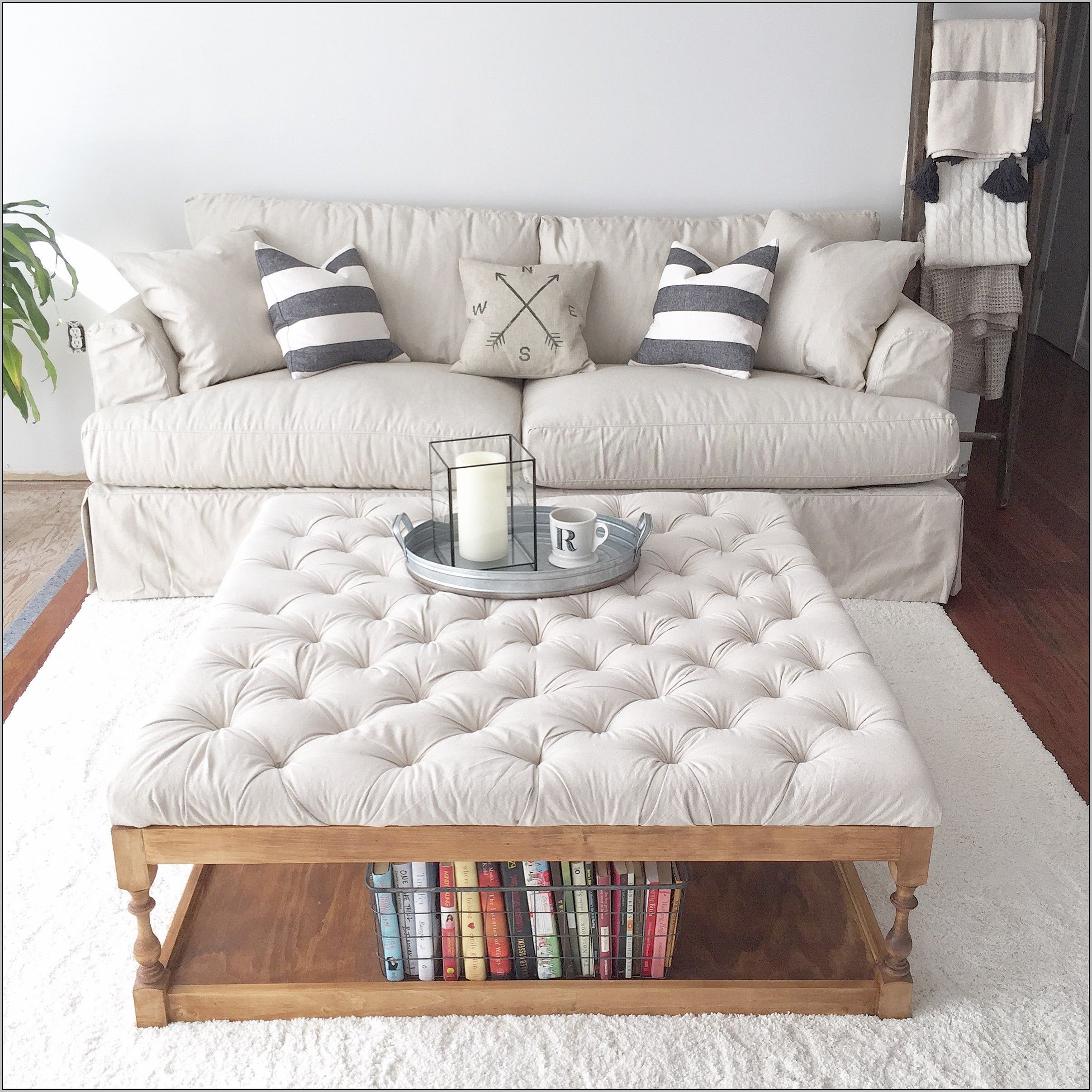 Tufted Ottoman Coffee Table Diy Apartment Tufted Ottoman Coffee within dimensions 2414 X 2414