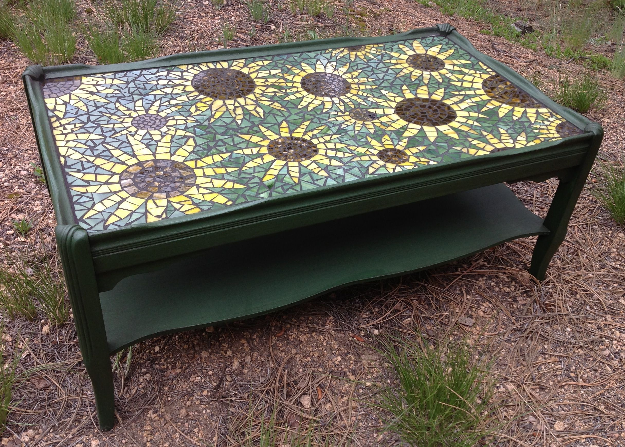 Vintage Coffee Table Updated With Paint Mosaic Sunflower Top My with measurements 2431 X 1742