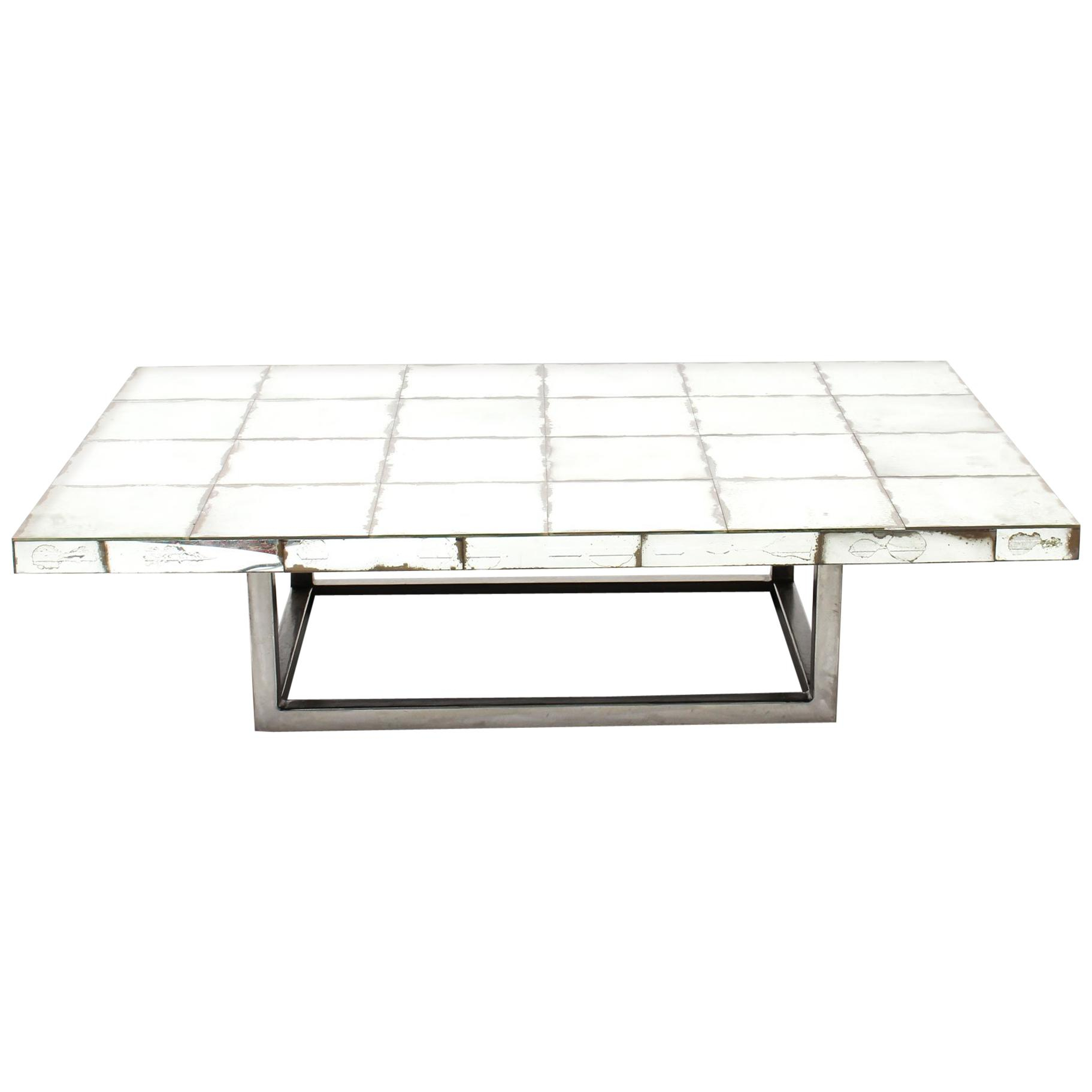 Vintage Mid Century Modernist Mirrored Coffee Table Mid 20th Century throughout dimensions 1823 X 1823