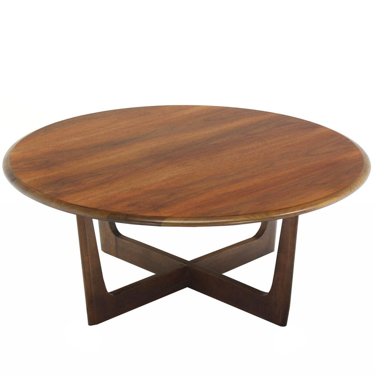 Walnut X Base Round Coffee Table inside dimensions 1280 X 1280