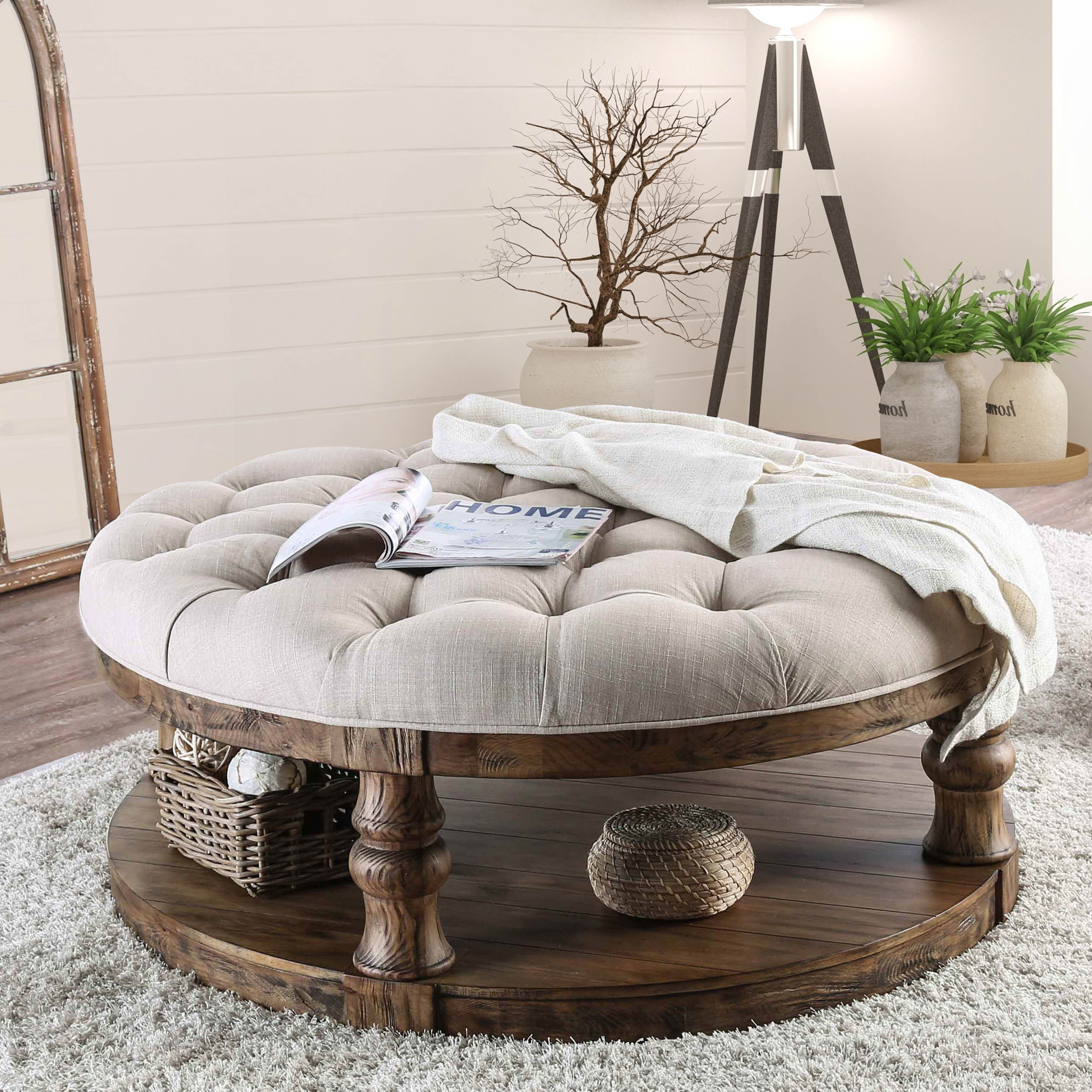 Wayfair Gracie Oaks Amstel Farmhouse Tufted Coffee Table pertaining to measurements 2520 X 2520
