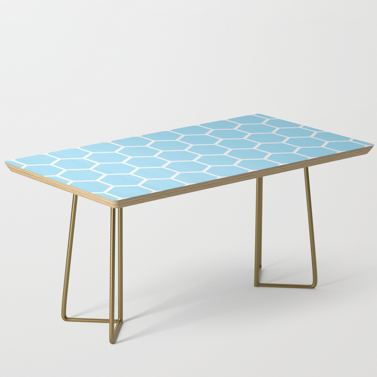 White And Light Blue Honeycomb Pattern Coffee Table with proportions 1500 X 1500