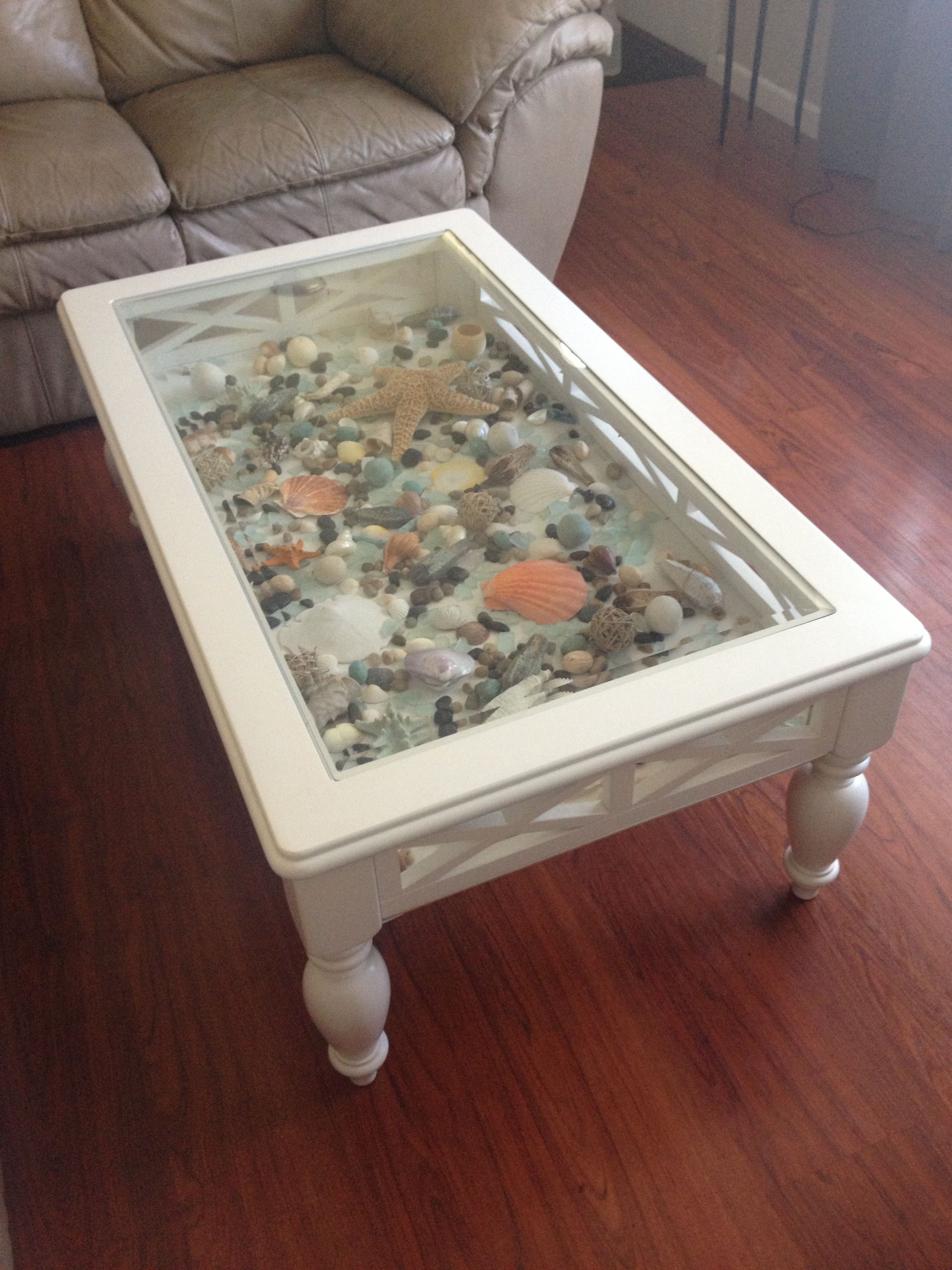 White Coffee Table That I Added A Bottom To And Filled With Sea in size 2448 X 3264
