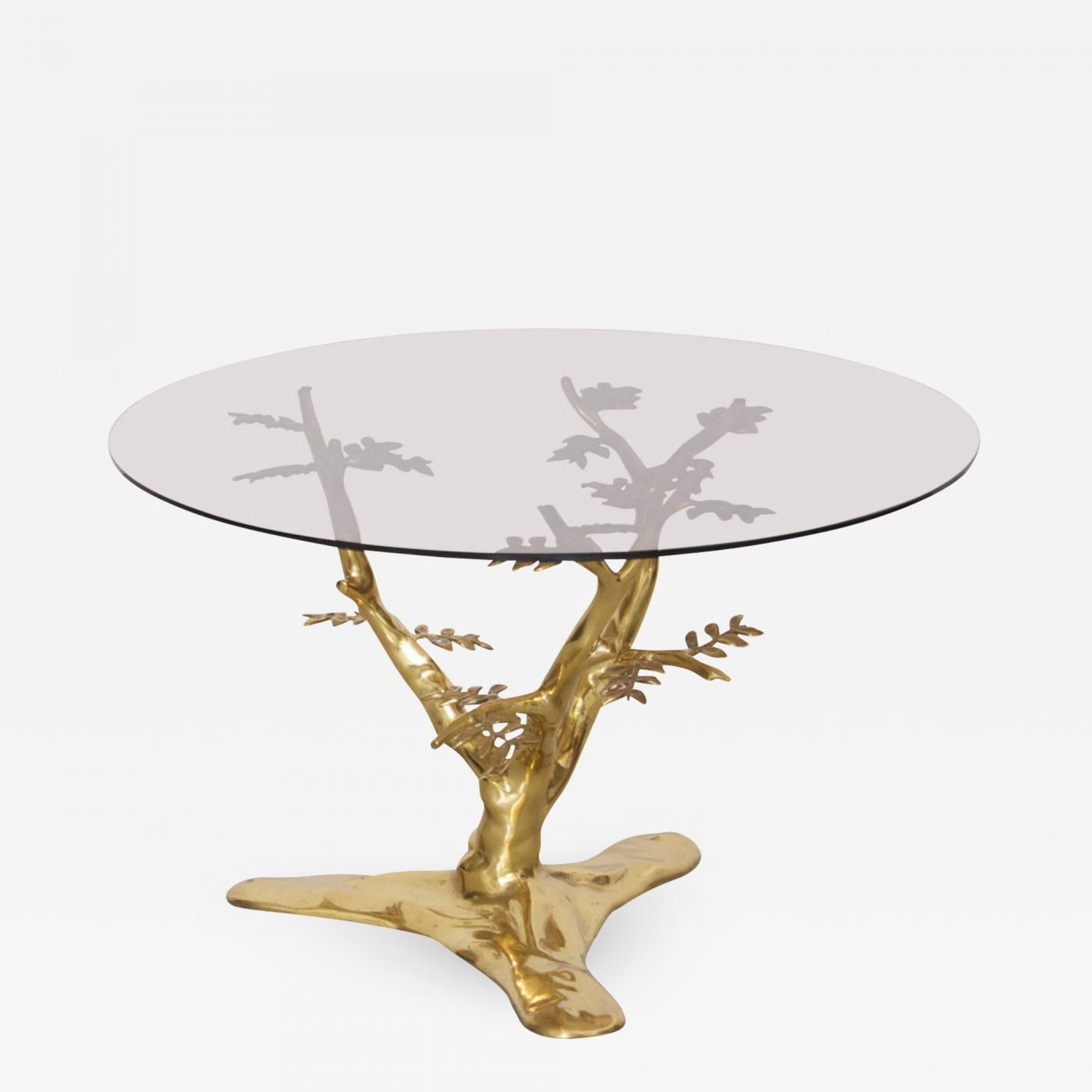 Willy Daro Brass Tree Sculpture Coffee Table In The Manner Of Willy with proportions 1400 X 1400